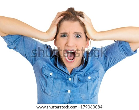 Closeup portrait of young shocked, horrified, pretty woman worried, stressed with hands on face, head, in full disbelief, isolated on white background. Negative emotions, facial expressions, feelings - stock photo