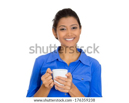 Closeup portrait of young smiling attractive pretty beautiful woman model holding drinking cup beverage, isolated on white background. Positive emotion facial expression feelings. - stock photo