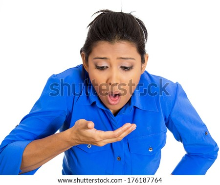 Closeup portrait of young unhappy, annoyed, sick woman about to chuck, throw up, puke retch barf, hurl isolated on white background. Negative emotions, feelings, facial expressions. Excessive drinking - stock photo