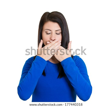 Closeup portrait of young woman covering closed mouth, eyes. Speak, see no evil concept, isolated on white background. Negative human emotions, facial expressions, signs, symbols. Media news coverup - stock photo