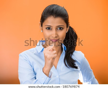 Closeup portrait of young woman gesturing with thumbs, finger that you are going to get zero nothing, isolated on orange red background. Negative emotion facial expression feelings, body language sign - stock photo