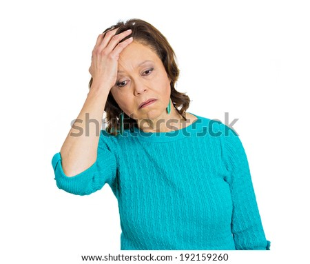 Closeup portrait, old woman suffering from headache, isolated white background. Human emotions, facial expressions, feelings, reaction, life perception, attitude - stock photo