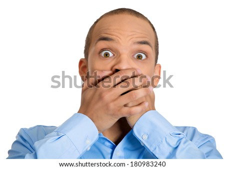 Closeup portrait petrified young handsome man looking shocked surprised in disbelief, hands covering mouth, big eyes, isolated white background. Positive human emotion facial expression feeling - stock photo