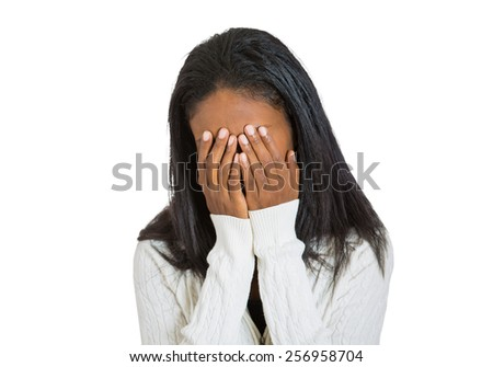 Closeup portrait sad depressed, stressed, thoughtful middle aged woman, gloomy, worried, covering her face isolated on white background. Human face expression emotion feeling reaction attitude - stock photo
