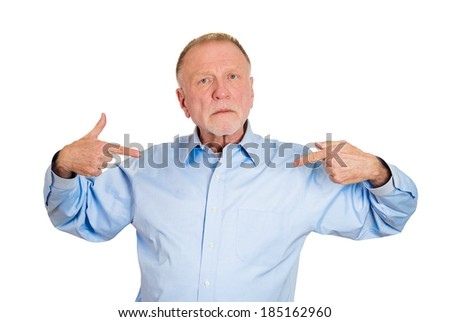 Closeup portrait, senior mature, arrogant, bold, self-important uppity stuck up man with napoleon complex, short man syndrome, isolated white background. Negative emotion facial expression feelings.