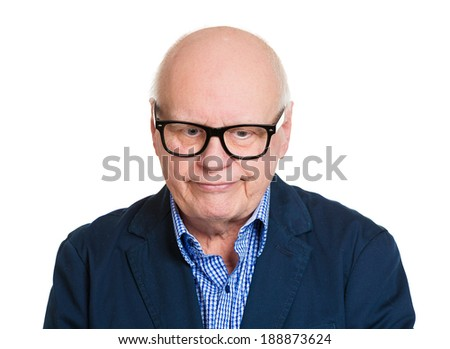 Closeup portrait, senior mature depressed, nerd man really sad, deep in thought, thinking realizing truth looking down, isolated white background. Human face expression emotion feeling, reaction - stock photo