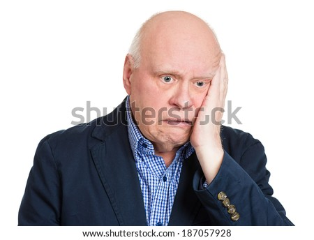 Closeup portrait senior, mature, desperate man, old sad business guy, troubled, deep thought, isolated white background. Human emotions, facial expressions, life perception, aging, depression, sorrow - stock photo