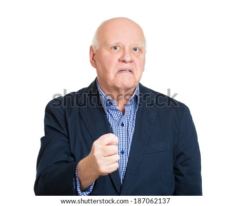 Closeup portrait senior mature, grumpy man gesturing with thumb and finger that you going to get zero, nothing, isolated white background. Negative emotions, facial expressions, feeling, body language