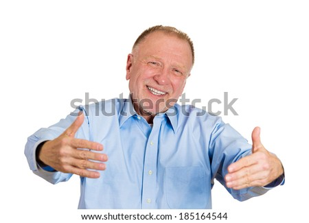 Closeup portrait, senior mature man motioning with arms to come and give him a bear hug, isolated white background. Positive human emotion facial expression feeling, signs symbols, body language - stock photo