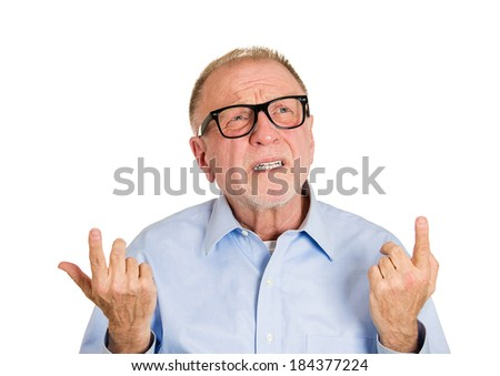 Closeup portrait, senior mature man  thinking, daydreaming, trying hard to remember something looking confused, isolated white background. Negative emotion facial expressions. Short-term memory loss - stock photo
