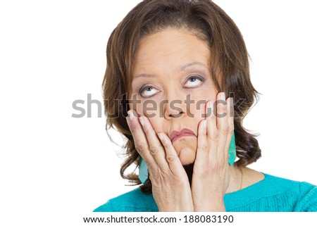 Closeup portrait, senior mature, shocked, horrified, woman worried and stressed with hands on face dragging face down, isolated white background. Negative human emotion facial expression feelings - stock photo