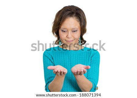 Closeup portrait, senior mature, smiling, happy woman with raised up palms arms at you offering something, head bowed, isolated white background. Positive emotions, facial expression signs symbols - stock photo
