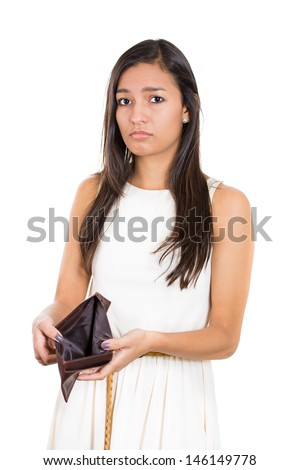 Closeup portrait shocked, upset, sad, unhappy young woman standing showing empty brown wallet, isolated against white background. Financial difficulties, bad economy concept. Negative emotion - stock photo