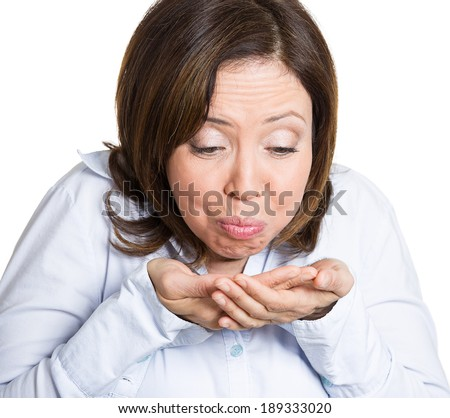 Closeup portrait, sick mature woman, employee, customer, teacher about to throw up, vomit isolated white background. Human face expression, feeling, adverse reaction, health issues, eating habits - stock photo