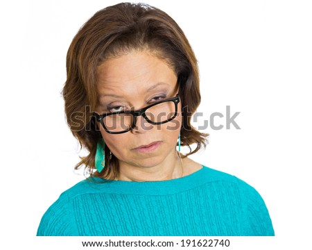 Closeup portrait skeptical senior lady, woman looking suspicious, some disgust on face mixed disapproval, isolated white background. Negative human emotions, facial expressions, feelings, reaction