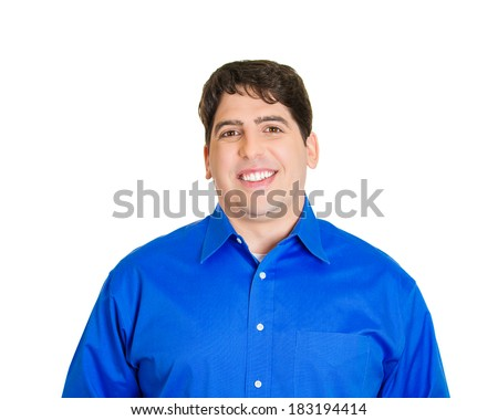 Closeup portrait smiling, happy, young business man, confident student, entrepreneur, isolated white background. Positive face expressions, emotions, feelings, attitude. - stock photo
