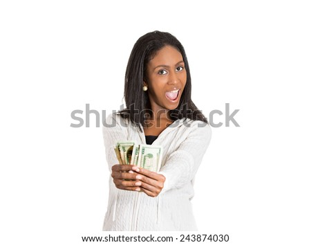 Closeup portrait super happy excited successful young woman holding showing money dollar bills in hand isolated white background. Positive emotion facial expression feeling. Financial reward savings - stock photo