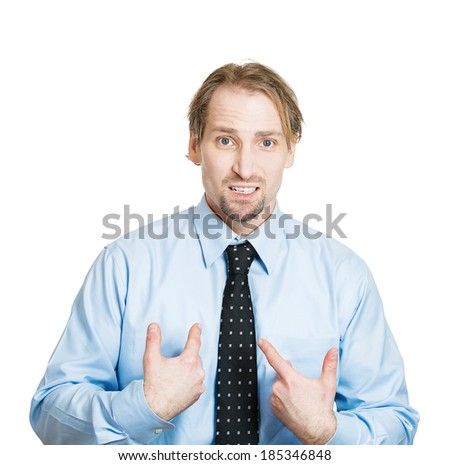 Closeup portrait, surprised, angry, young man, unexpectedly, asking question you talking to, mean me? Isolated white background. Negative human emotions, facial expressions, feelings, reaction - stock photo