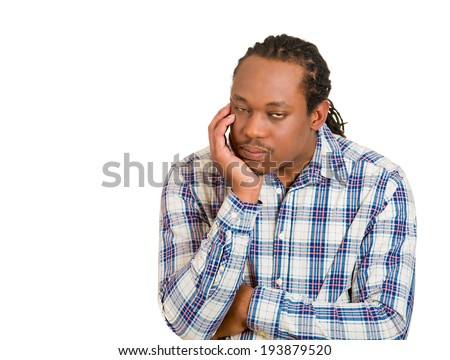 Closeup portrait tired, bored young man falling asleep on his hand, fatigued employee, student, eyes half closed, isolated white background. Human emotion, facial expressions, reaction, perception - stock photo