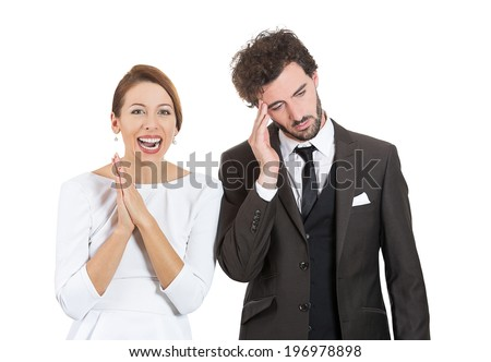 Closeup portrait two people, couple depressed sad man, happy beautiful excited, smiling woman. Relationship contrast, bipolar concept. Emotions, facial expressions, feelings, life perception, attitude - stock photo