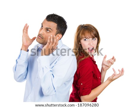 Closeup portrait, two people, couple woman and man, back to back, very angry, disappointed with each other, isolated white background. Marriage, relationship problems. Negative human emotions - stock photo