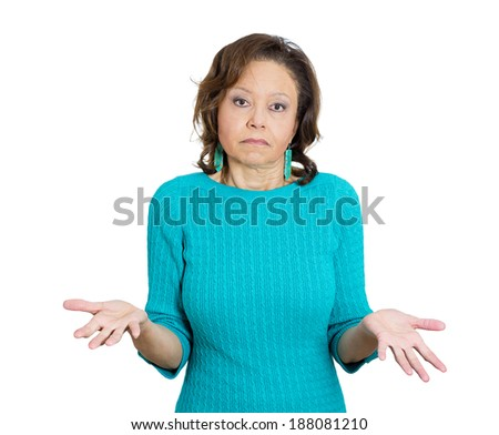 Closeup portrait, unhappy, senior mature, rude, woman, manager, teacher, worker asking whats the problem, who cares, so what, I dont know. Isolated white background. Negative human emotions - stock photo