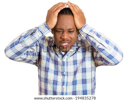 Closeup portrait upset, frustrated, overwhelmed, stressed young man squeezing his head, going nuts, depressed, losing mind, having headache isolated white background. Facial expressions, emotions - stock photo