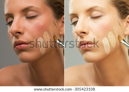 closeup portrait woman trying different shades foundation before and after retouching - stock photo