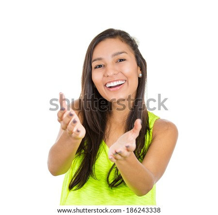 Closeup portrait, young beautiful smiling, happy excited woman with raised up palms arms at you offering something, isolated white background. Positive emotion facial expression signs symbols - stock photo