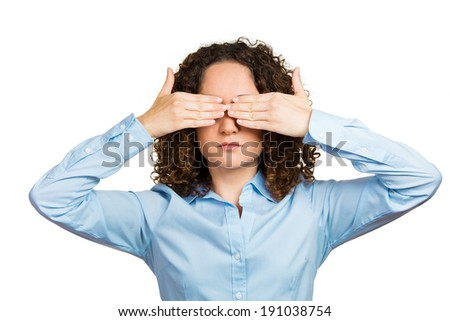 Closeup portrait young business woman, closing, covering eyes with hands can't look hiding avoiding situation isolated white background. See no evil concept. Human emotion, facial expression, reaction - stock photo