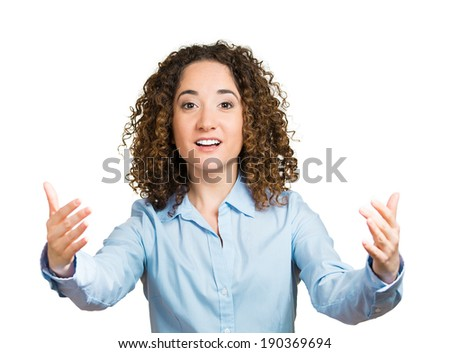 Closeup portrait, young, curly, brown hair woman, motioning with arms to come and give her bear hug, isolated white background. Positive emotion facial expression feeling, signs symbols, body language - stock photo