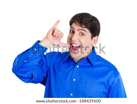 Closeup portrait, young, happy silly goofy man gesturing with hands, thumb to go out party and get drunk, hammered, wasted, tipsy, isolated white background. Positive emotion facial expression feeling - stock photo