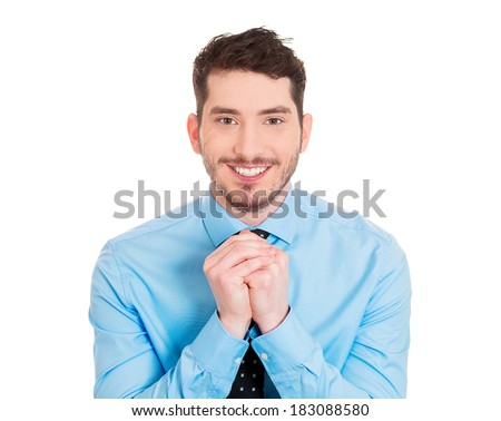Closeup portrait young man gesturing with clasped hands, pretty please with sugar on top, isolated white background. Positive emotion facial expression feelings, signs symbols, body language. - stock photo