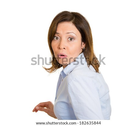 Closeup portrait, young, scared, afraid, woman, citizen, employee, full of fear on run, chased by someone, isolated white background. Human face expressions, emotions, reaction, feelings, attitude - stock photo