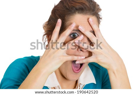Closeup Portrait Young Scared Woman Shy Stock Photo ...