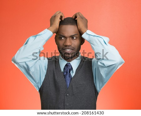 Closeup portrait, young, stressed, unhappy executive man with hands on temples, head about to explode, almost having nuclear meltdown, isolated red color background. Warhol style picture - stock photo