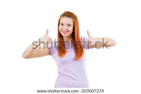 Closeup portrait, young successful smiling optimistic woman, excited student, giving thumbs up, isolated white background. Positive human emotions, facial expressions, feeling, signs, symbol, attitude - stock photo