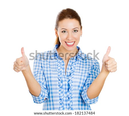 Closeup portrait young, successful, smiling woman, excited student giving thumbs up, isolated white background. Positive human emotions, facial expressions, feeling, signs, symbol, attitude, reaction