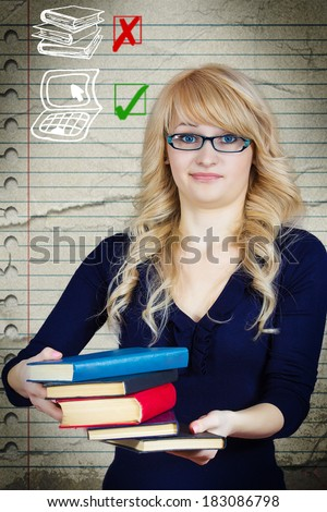 Closeup portrait young woman disgusted with all books she carrying, hoping to exchange for more efficient laptop computer, isolated notebook background. Negative emotion, facial expression, attitude