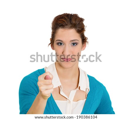 Closeup portrait young woman gesturing with thumbs, finger that you are going get zero nothing, isolated white background. Negative human emotion, facial expression feelings, body language signs - stock photo