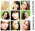 closeup portraits of pretty tender beautiful young female faces with clear skin and delicate complexion in the summer evening sunshine in nature - stock photo