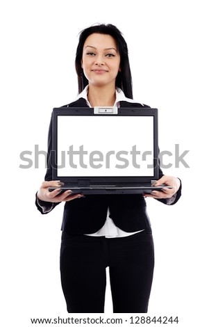 Closeup pose of beautiful businesswoman holding a laptop in her hands, isolated on white background - stock photo