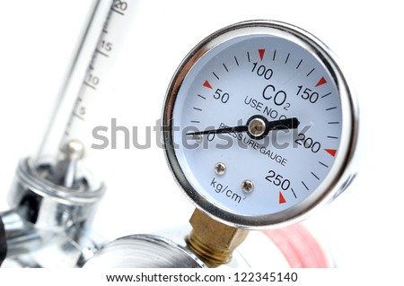 closeup pressure gauge on white background