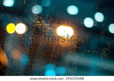 closeup  raindrops on the window - stock photo