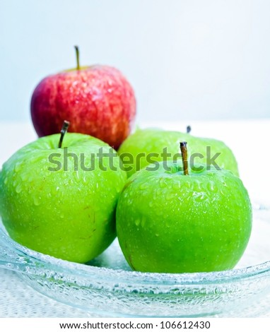 closeup  red and green apples - stock photo