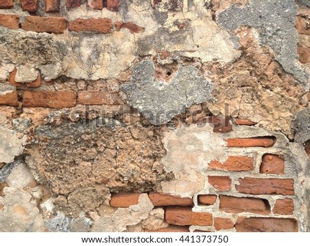 closeup red brick masonry design of ancient building wall