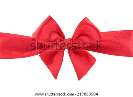 Closeup red ribbon with bow isolated on white background