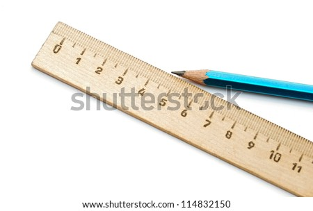 closeup ruler and wood pencil on white - stock photo