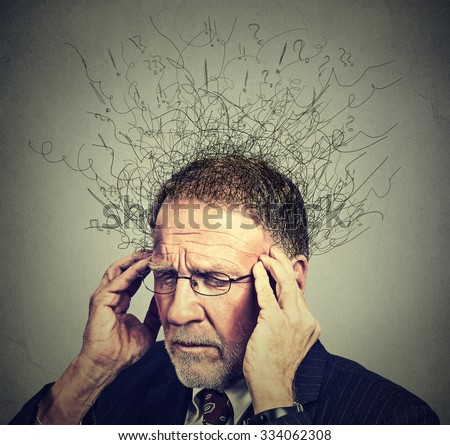 Closeup sad senior elderly man with worried stressed face expression looking down with brain melting into lines question marks. Obsessive compulsive, adhd, anxiety disorders concept   - stock photo