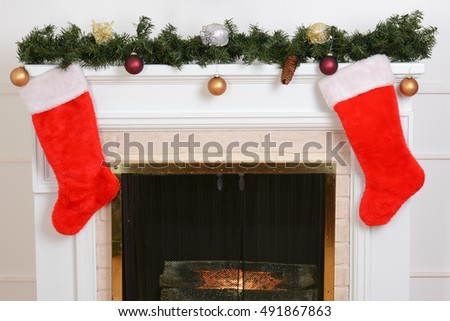 Stockings Fireplace Stock Images, Royalty-Free Images & Vectors ...